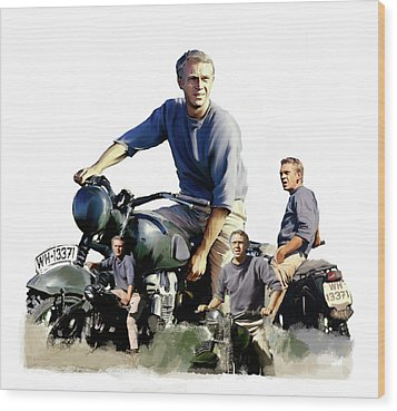 Wood Print featuring the painting Steve Mcqueen  Captain Hilts Great Escape by Iconic Images Art Gallery David Pucciarelli