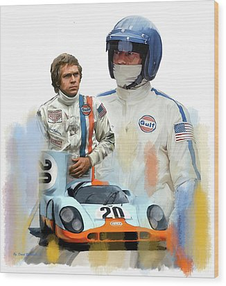 Steve Mcqueen Driving Force Wood Print by Iconic Images Art Gallery David Pucciarelli