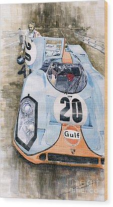 Steve Mcqueens Porsche 917k Le Mans Wood Print by Yuriy  Shevchuk