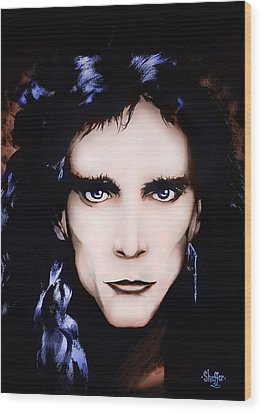 Wood Print featuring the painting Steve Vai by Curtiss Shaffer