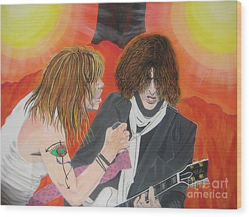 Wood Print featuring the painting Steven Tyler And Joe Perry Painting by Jeepee Aero