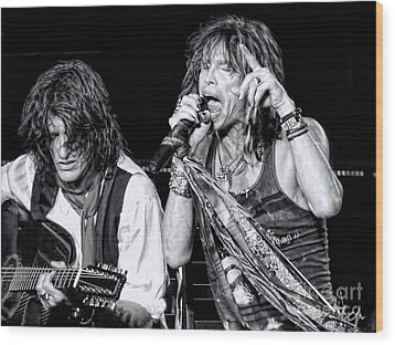 Steven Tyler Croons Wood Print by Traci Cottingham
