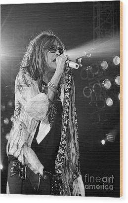 Steven Tyler In Concert Wood Print by Traci Cottingham
