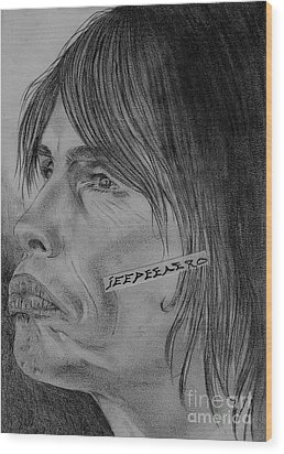 Wood Print featuring the drawing Steven Tyler Portrait Drawing Image Picture by Jeepee Aero