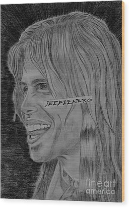 Wood Print featuring the drawing Steven Tyler Portrait Image Pictures by Jeepee Aero