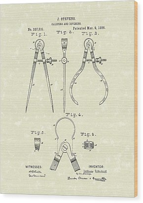 Stevens Calipers And Dividers 1886 Patent Art Wood Print by Prior Art Design