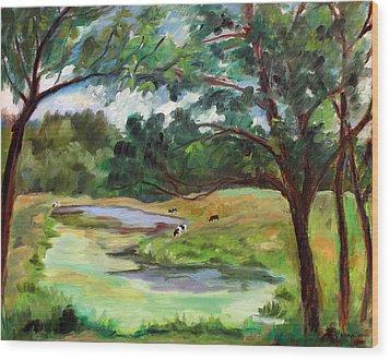 Stevenson Rd. Pond Wood Print by Ethel Vrana