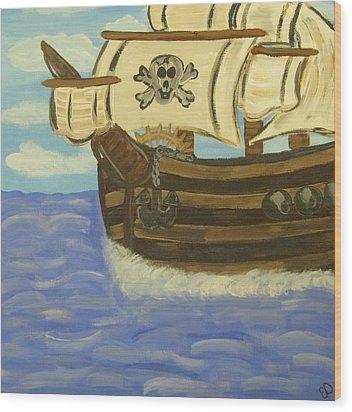 Steve's Spooky Ship Wood Print by Eva  Dunham