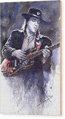 Stevie Ray Vaughan 1 Wood Print by Yuriy  Shevchuk