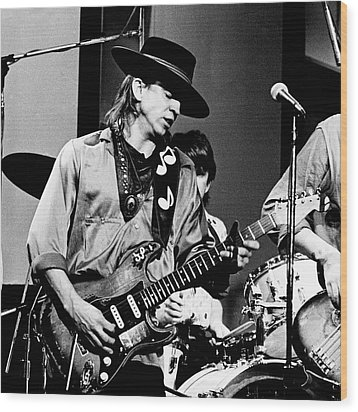 Wood Print featuring the photograph Stevie Ray Vaughan 3 1984 Bw by Chris Walter