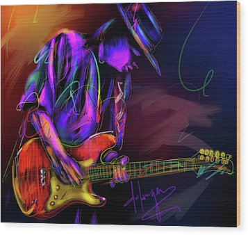 Wood Print featuring the painting Stevie Ray Vaughan by DC Langer