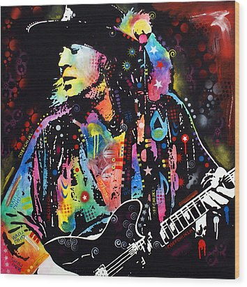 Wood Print featuring the painting Stevie Ray Vaughan by Dean Russo