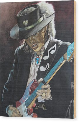 Wood Print featuring the painting Stevie Ray Vaughan  by Lance Gebhardt
