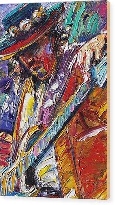 Stevie Ray Vaughan Number One Wood Print by Debra Hurd