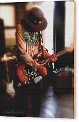 Wood Print featuring the photograph Stevie Ray Vaughan Reflections   by Iconic Images Art Gallery David Pucciarelli