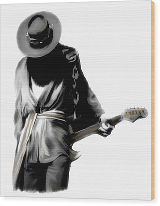 Stevie Ray Vaughan Shadowing Soul Wood Print by Iconic Images Art Gallery David Pucciarelli