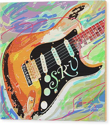 Stevie Ray Vaughan Stratocaster Wood Print by David Lloyd Glover