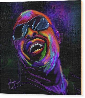 Stevie Wonder Wood Print by DC Langer