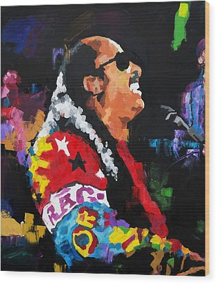 Wood Print featuring the painting Stevie Wonder Live by Richard Day