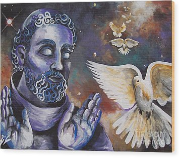 St.francis And The Birds Wood Print by Olivia Candille