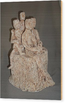 Stick People - Family Portrait Wood Print by Sally Van Driest