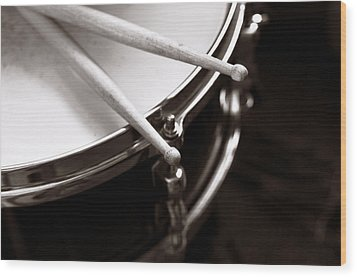 Sticks On Snare Drum Wood Print by Rebecca Brittain