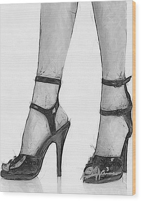 Stiletto Wood Print by Anthony Caruso