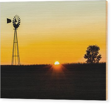 Wood Print featuring the photograph Still Country Sunset Silhouette by Chris Bordeleau