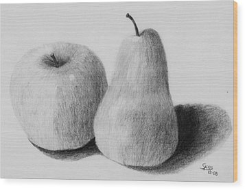 Still Life Apple Pear Wood Print by Spiros Antonellos