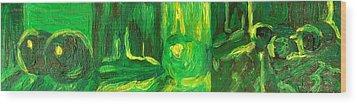 Still Life Green Wood Print by Hatin Josee