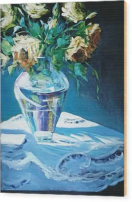 Still Life In Glass Vase Wood Print by Kathy  Karas