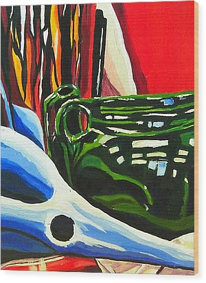 Still Life In Red Blue Green Wood Print by Amy Williams