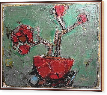 Wood Print featuring the painting still life in red SLIR2 by Pemaro