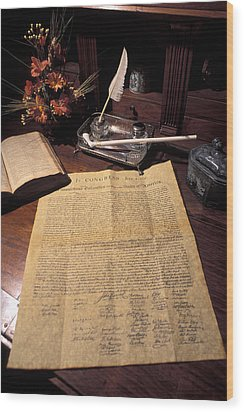 Still Life Of A Copy Of The Declaration Wood Print by Richard Nowitz