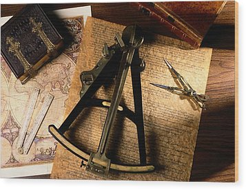 Still Life Of Charts, Books Wood Print by Todd Gipstein