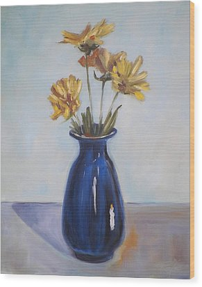 Still Life Of Flowers In Blue Vase Wood Print