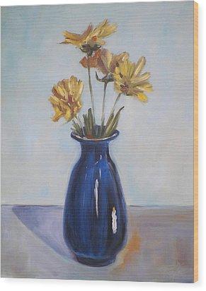 Still Life Of Flowers In Blue Vase Wood Print