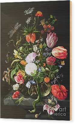 Still Life Of Flowers Wood Print by Jan Davidsz de Heem