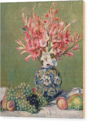 Still Life Of Fruits And Flowers Wood Print by Pierre Auguste Renoir