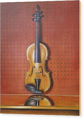 Still Life Of Violin Wood Print by RB McGrath