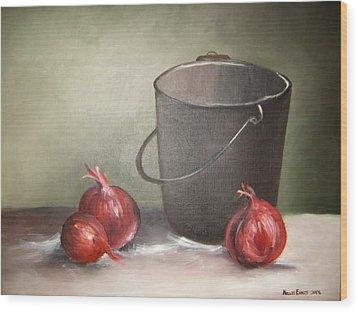 Still Life Onions Wood Print by Nellie Visser