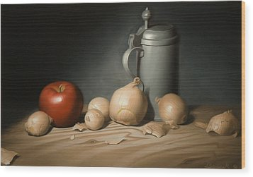 Still Life Painting With Onions Wood Print by Eric Bossik