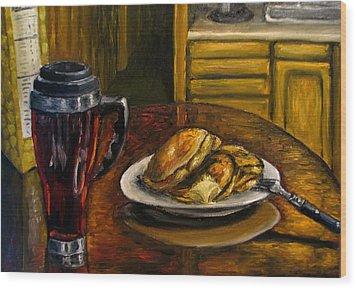 Still Life Pancakes And Coffee Painting Wood Print by Natalja Picugina
