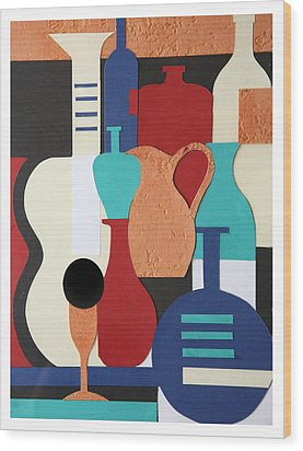 Still Life Paper Collage Of Wine Glasses Bottles And Musical Instruments Wood Print by Mal Bray