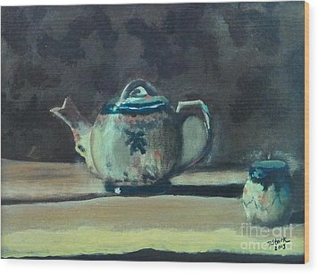 Still Life Teapot And Sugar Bowl Wood Print