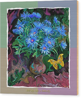 Wood Print featuring the photograph Still Life With A Butterfly by Vladimir Kholostykh
