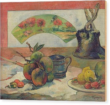 Still Life With A Fan Wood Print by Paul Gauguin