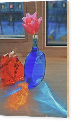 Wood Print featuring the photograph Still Life With A Flower by Vladimir Kholostykh