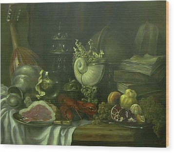 Wood Print featuring the painting Still-life With A Lobster by Tigran Ghulyan