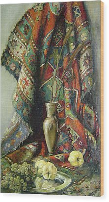 Wood Print featuring the painting Still-life With An Old Rug by Tigran Ghulyan